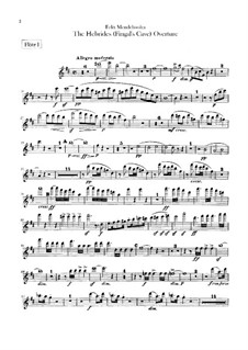 Die Hebriden oder Die Fingalshöhle (Hebrides Overture), Op.26: Flutes part by Felix Mendelssohn-Bartholdy