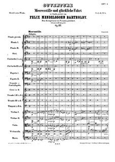 Meeresstille und glückliche Fahrt (Calm Sea and Prosperous Voyage), Op.27: Full score by Felix Mendelssohn-Bartholdy