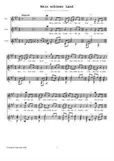 Four German Folk Songs for Alto, Tenor and Piano: Kein schoener Land, for voices and guitar by folklore