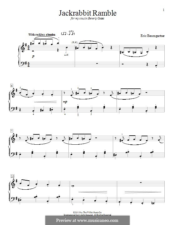 Jackrabbit Ramble: For piano by Eric Baumgartner
