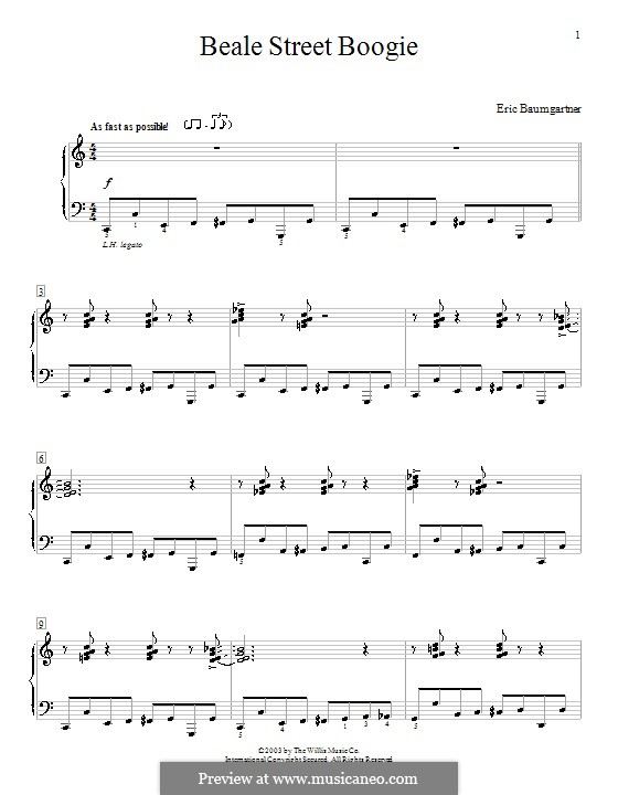 Beale Street Boogie: For piano by Eric Baumgartner