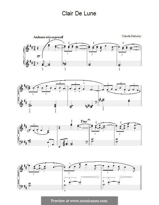 No.3 Clair de lune, for Piano: For a single performer by Claude Debussy