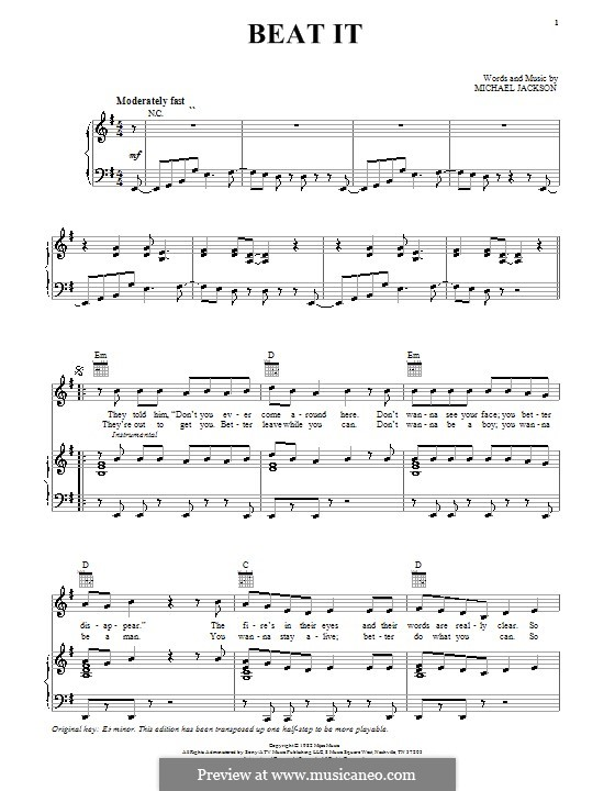 Beat It: For voice and piano (or guitar) by Michael Jackson
