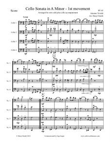 Sonata for Cello No.3 in A Minor, RV 43: Movement I, arranged for solo cello plus three cello accompaniment by Antonio Vivaldi