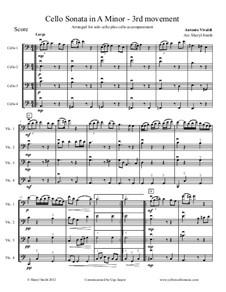 Sonata for Cello No.3 in A Minor, RV 43: Movement III, arranged for solo cello plus three cello accompaniment by Antonio Vivaldi