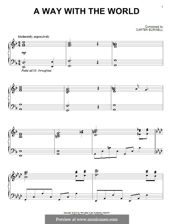 A Way with the World: For piano by Carter Burwell