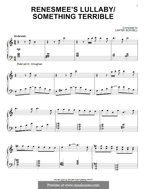 Renesmee's Lullaby/Something Terrible: For piano by Carter Burwell