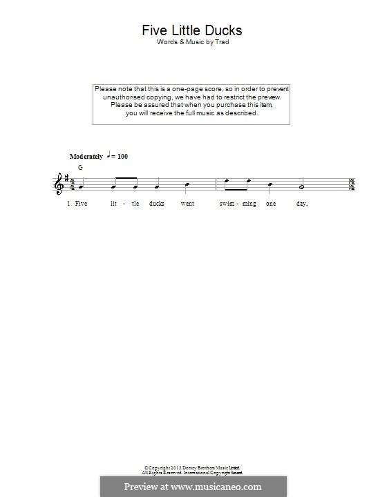Five Little Ducks: Lyrics and chords by folklore