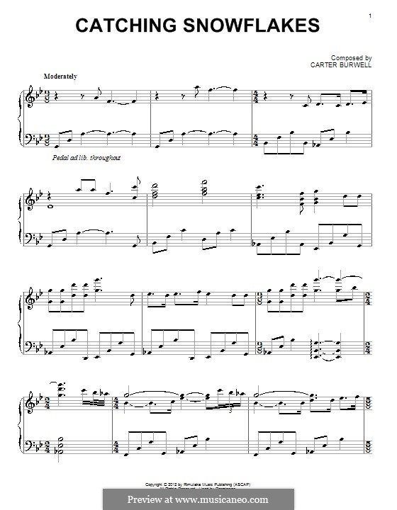 Catching Snowflakes: For piano by Carter Burwell