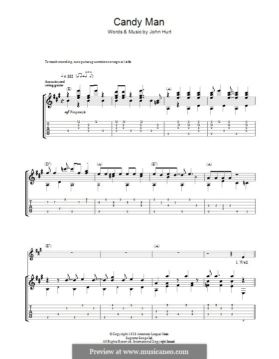 Candy Man By Mississippi John Hurt Sheet Music On Musicaneo