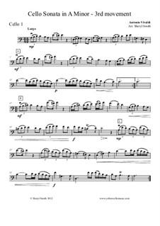 Sonata for Cello No.3 in A Minor, RV 43: Movement III – cello part only by Antonio Vivaldi