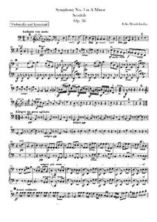 Symphony No.3 in A Minor 'Scottish', Op.56: Cellos and double basses part by Felix Mendelssohn-Bartholdy