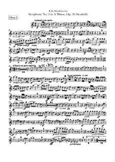 Symphony No.3 in A Minor 'Scottish', Op.56: Oboes parts by Felix Mendelssohn-Bartholdy