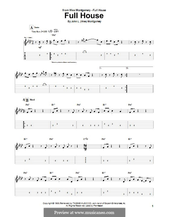 Full House: For guitar with tab by Wes Montgomery