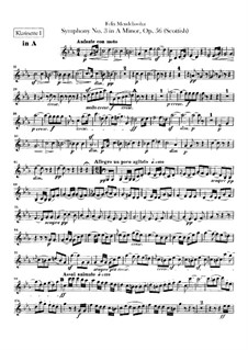 Symphony No.3 in A Minor 'Scottish', Op.56: Clarinets parts by Felix Mendelssohn-Bartholdy