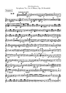 Symphony No.3 in A Minor 'Scottish', Op.56: Trumpets parts by Felix Mendelssohn-Bartholdy