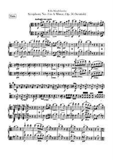 Symphony No.3 in A Minor 'Scottish', Op.56: Violas part by Felix Mendelssohn-Bartholdy