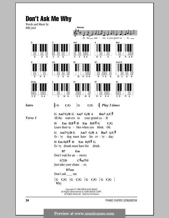 Don't Ask Me Why: Lyrics and chords by Billy Joel