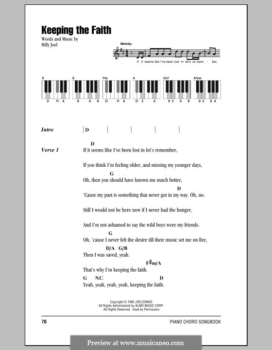Keeping the Faith: Lyrics and chords by Billy Joel