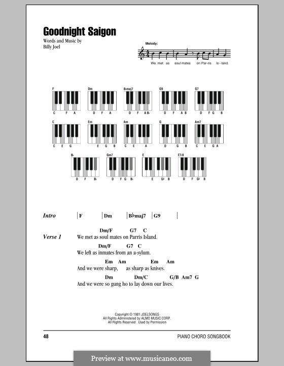 Goodnight Saigon: Lyrics and chords by Billy Joel