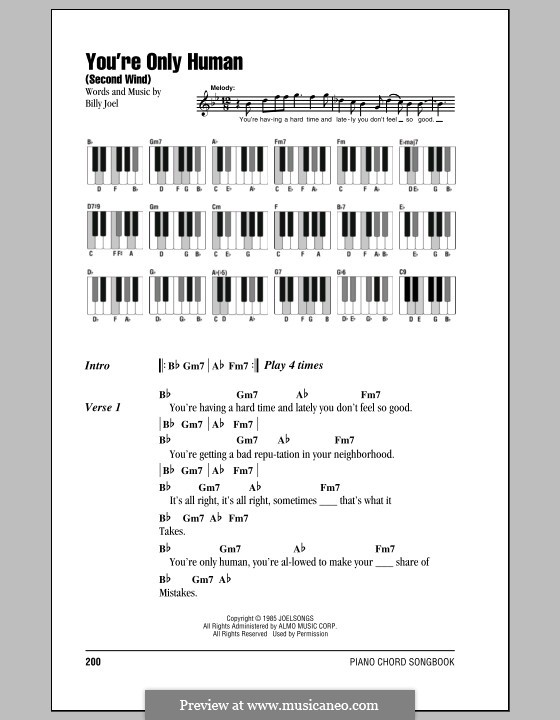 You're Only Human (Second Wind): Lyrics and chords by Billy Joel