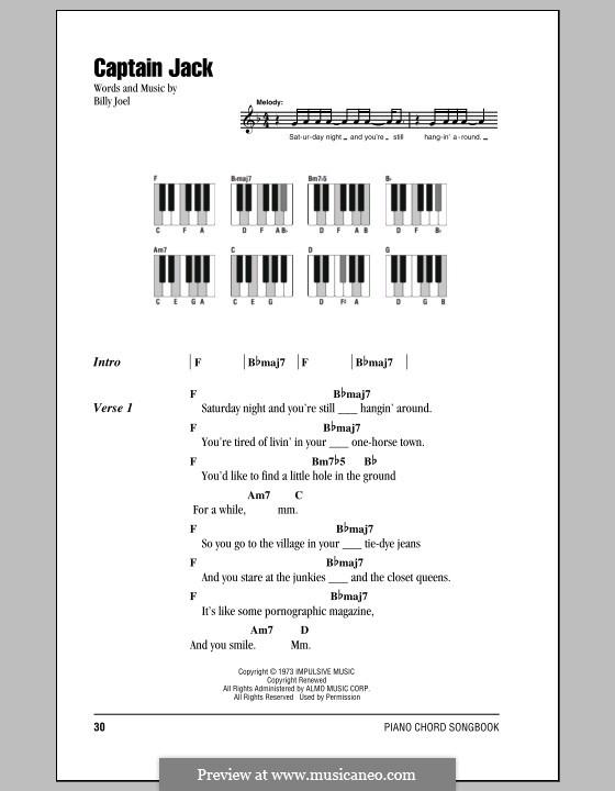 Captain Jack: Lyrics and chords by Billy Joel