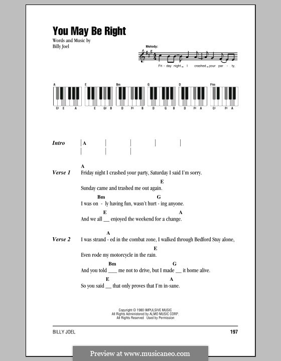 You May Be Right: Lyrics and chords by Billy Joel