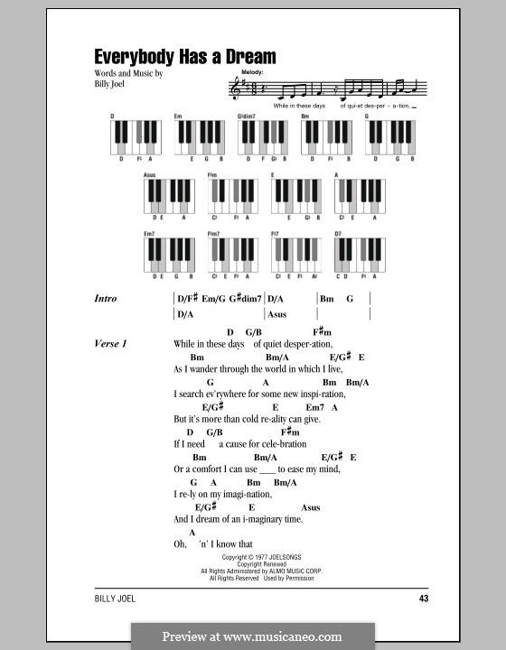 Everybody Has a Dream: Lyrics and chords by Billy Joel