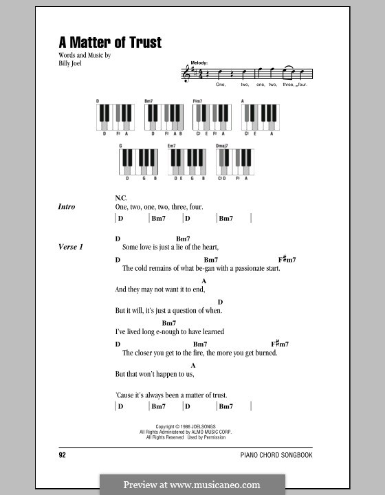 A Matter of Trust: Lyrics and chords by Billy Joel