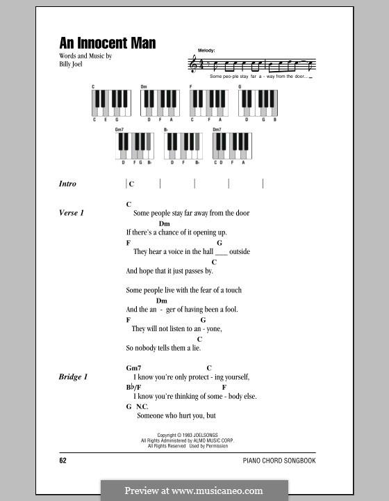 An Innocent Man: Lyrics and chords by Billy Joel