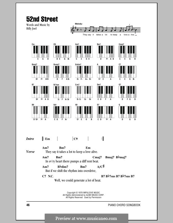 52nd Street: Lyrics and chords by Billy Joel