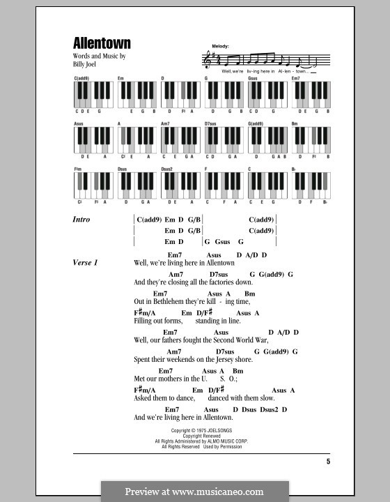 Allentown: Lyrics and chords by Billy Joel