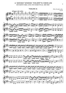 Incidental Music to Shakespeare's Play: Violins II part by Felix Mendelssohn-Bartholdy