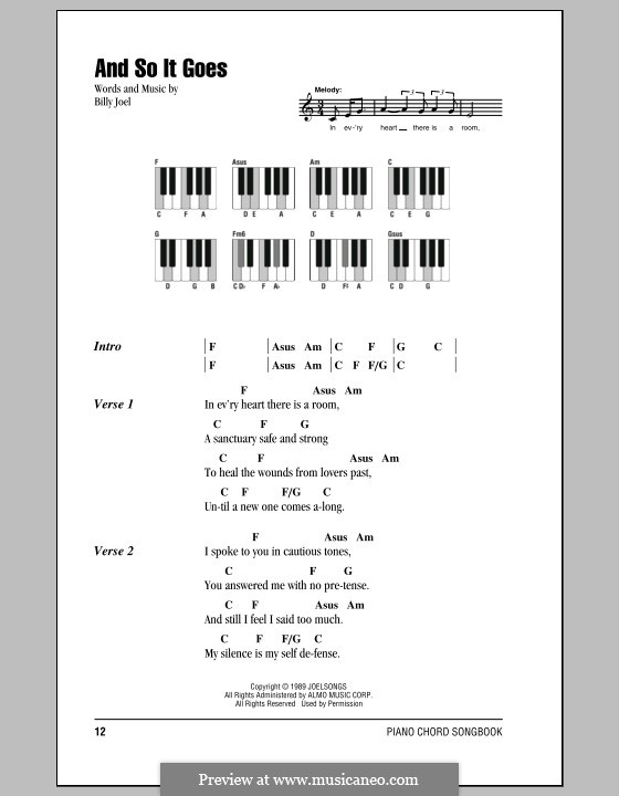 And So It Goes: Lyrics and chords by Billy Joel