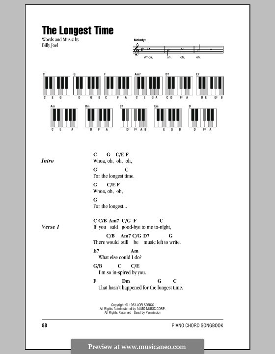 The Longest Time: Lyrics and chords by Billy Joel