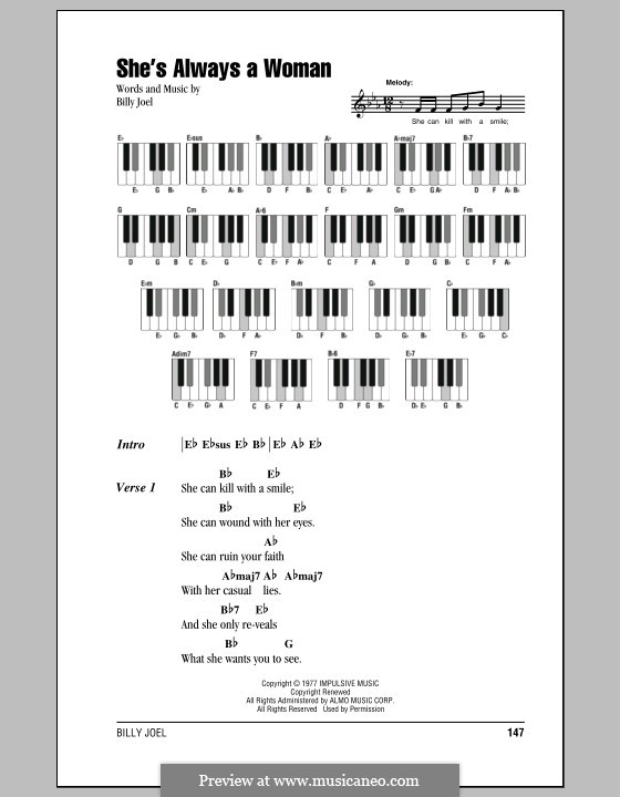 Shes Always A Woman By B Joel Sheet Music On Musicaneo