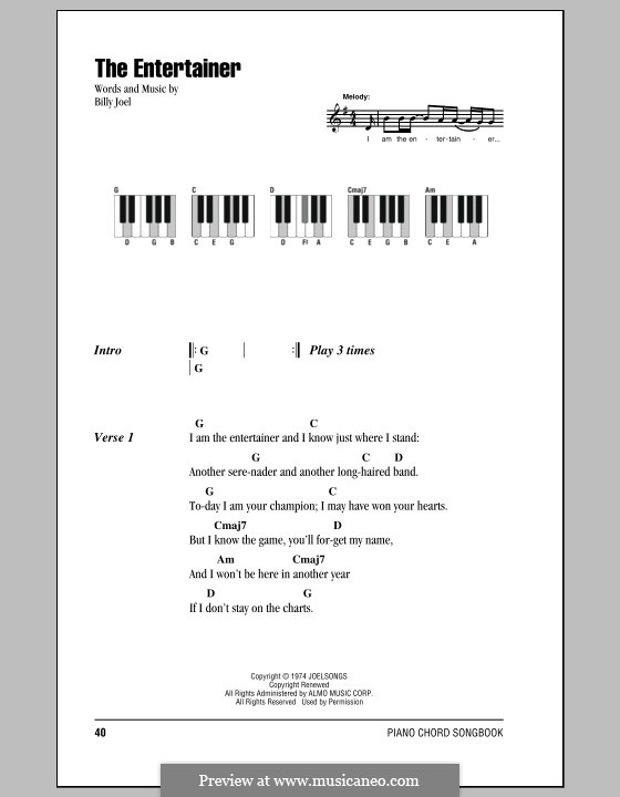 The Entertainer: Lyrics and chords by Billy Joel