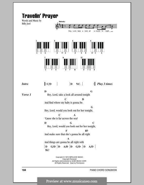 Travelin' Prayer: Lyrics and chords by Billy Joel
