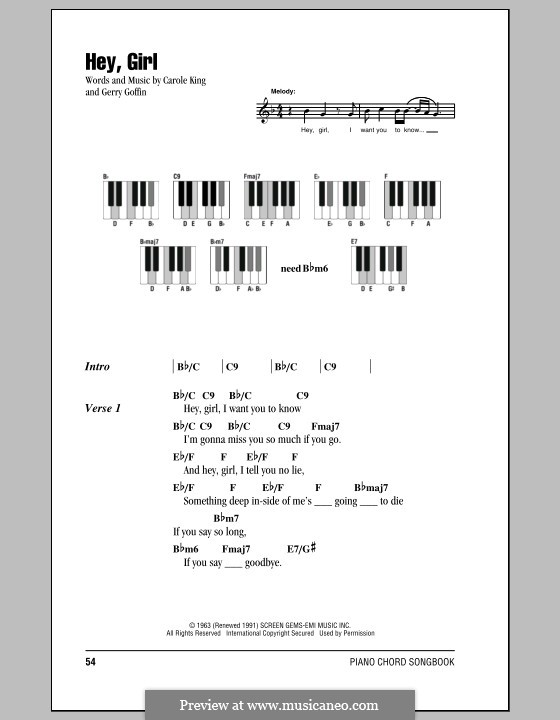 Hey, Girl: Lyrics and chords by Gerry Goffin
