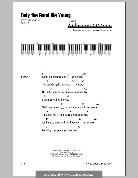 Only the Good Die Young: Lyrics and chords by Billy Joel