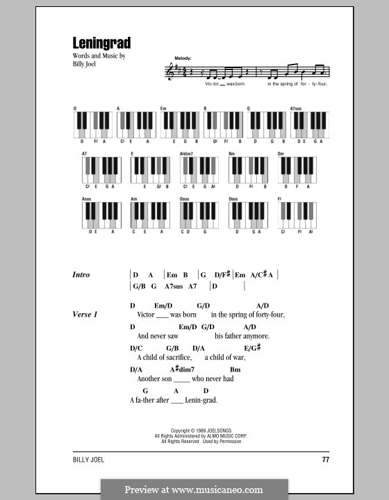 Leningrad: Lyrics and chords by Billy Joel