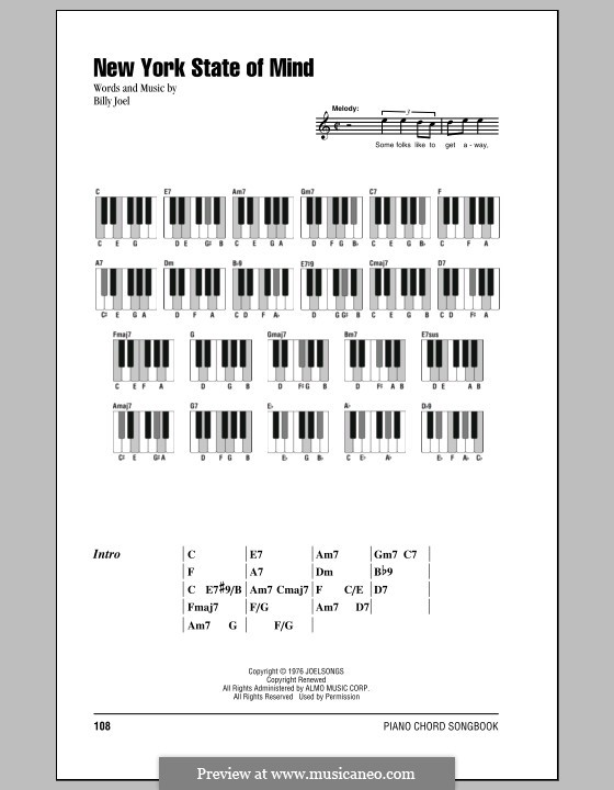 New York State of Mind: Lyrics and chords by Billy Joel