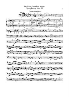 Symphony No.36 in C Major, K.425: Cello and double bass part by Wolfgang Amadeus Mozart