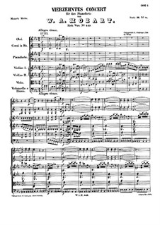 Concerto for Piano and Orchestra No.14 in E Flat Major, K.449: Full score by Wolfgang Amadeus Mozart