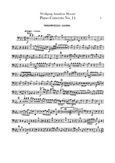 Concerto for Piano and Orchestra No.14 in E Flat Major, K.449: Cello and double bass part by Wolfgang Amadeus Mozart