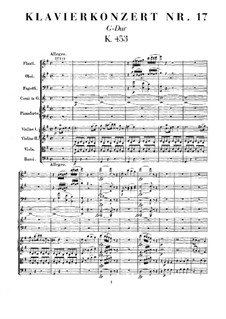 Concerto for Piano and Orchestra No.17 in G Major, K.453: Full score by Wolfgang Amadeus Mozart