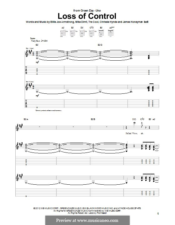 Loss of Control (Green Day): Guitar tablature by Billie Joe Armstrong, Chrissie Hynde, Tré Cool, James Honeyman-Scott, Mike Dirnt