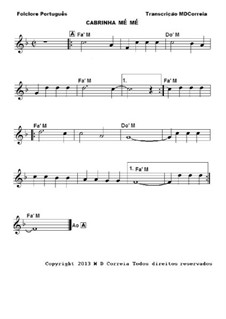 Cabrinha me' me': For piano (or any instrument) by folklore