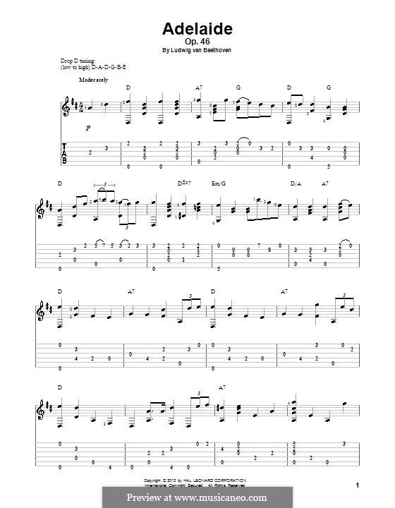 Adelaide, Op.46: For guitar with tab by Ludwig van Beethoven