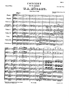 Concerto for Clarinet and Orchestra in A Major, K.622: Full score by Wolfgang Amadeus Mozart